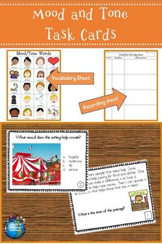 Task cards to practice mood and tone. PIctures make these great for ELL learners. #taskcards #Languagearts #esol