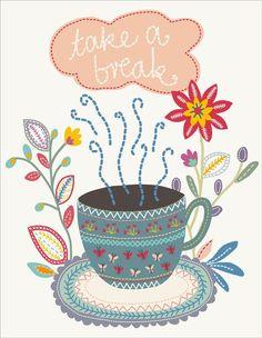 """""""take a break"""" tea illustration / by little cube studio for children's design/ via Behance"""