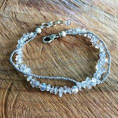 Crystal anklet white ankle bracelet rock crystal anklet wedding anklet gemstons anklet boho ankle bracelet boho anklet bohemian wedding summer beach jewelry This anklet make with rock crystal raw beads faceted czech glass beads for accents and
