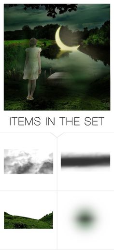 """moon bathing"" by dutchconnection ❤ liked on Polyvore featuring art"