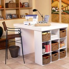I pinned this Venture Project Center Desk from the Craft Room event at Joss and Main! The versatile Venture Project Center Desk creates an organized workspace in your craft room, den, or home office. A smooth, streamlined surface easily supports your laptop, sewing machine, or scrapbooking gear, while two side bookshelves hold crafts, supplies, books, baskets, and more.