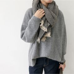 Scarf, Pullover, Jeans and that's all I need for fall.