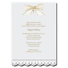Lace Cut Invitation with Bow | Communion Invitations | CommunionCards.net