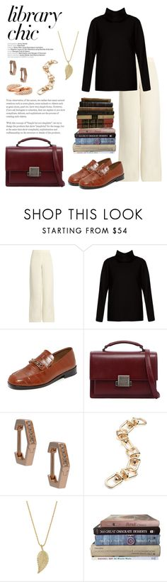 """Library Chic"" by windrasiregar ❤ liked on Polyvore featuring Ryan Roche, The Row, NewbarK, Yves Saint Laurent, Eva Fehren, Eddie Borgo and Jennifer Meyer Jewelry"