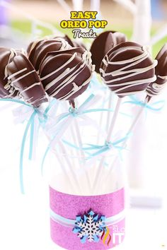 Professional looking party treats like these Chocolate Covered Oreo Pops are so easy you can make them yourself. We have had these on every dessert table for every single party we host. They are a crowd favorite! I mean who doesn't like Oreo's? Check out our simple step-by-step How To on these Easy Oreo Pops with photos from all of our party pops. Personalized pops? No problem!