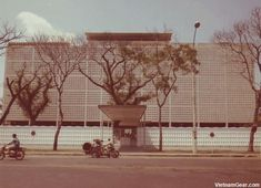 The American Embassy on Thong Nhut Street in downtown Saigon. The top three floors of the building were occupied by the CIA.     The embassy was the last building to be abandoned during the U.S evacuation of Saigon in April 1975.    Photo taken: Feb. 1969