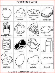Bingo for Food unit - can also create my own food bingo cards for this unit - primary grades English Worksheets For Kids, English Resources, English Activities, Preschool Worksheets, Preschool Activities, Kids English, English Class, English Lessons, Teaching English