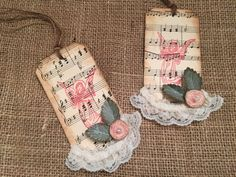 "ART GIFT TAG, Set of 6 COUNTRY CHIC CHRISTMAS TAGS Use for: Gift Tags, Embellishments for Paper Crafts, Scrapbooking, Decorations Embellished in a ""Primitive or Old Country Chic"" Style with findings f"