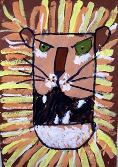 Rawwwr!  Great lion paintings for younger grades + lesson in analogous colors.