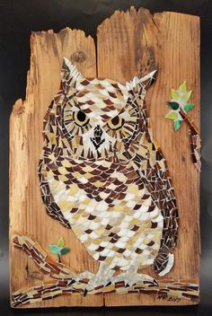 Hand cut stained glass mosaic owl on branch by NicoleMarieArtistry