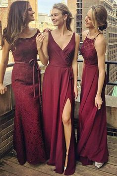 V-Neck Floor-Length Grape Chiffon Bridesmaid Dress wtih Split BD036