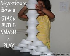 Stack, Build, Smash and Play with Foam Bowls!! Is a great #RainyDay activity.   What household things do your kids love to play with?