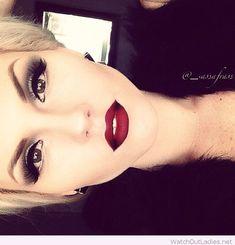 Burgundy lips and silver eye Christmas makeup