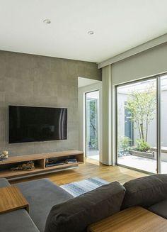 Feature Wall Living Room, Small Living Room Layout, Living Room Tv, Living Room Designs, Condo Design, House Design, Modern Interior, Home Interior Design, Small Condo Decorating