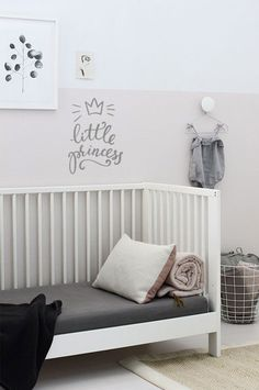 Eli's half pink wall in Translucent Silk from Behr's MARQUEE Interior Paint & Primer Baby Bedroom, Nursery Room, Girls Bedroom, Childrens Room, Murs Roses, Pink Walls, Kid Spaces, Kids Decor, Decoration