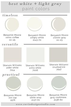 Whites and grays are super trendy right now but it is hard to know which one to pick. Here are my BEST WHITE PAINT COLORS! Whites and grays are super trendy right now but it is hard to know which one to pick. Here are my BEST WHITE PAINT COLORS! Light Grey Paint Colors, Wall Colors, House Colors, Paint Colours, Light Gray Walls, Best Greige Paint Color, Off White Paint Colors, Trim Paint Color, Best Neutral Paint Colors