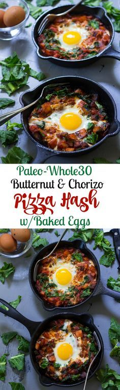 Paleo and Whole30 butternut chorizo pizza hash with baked eggs - works for breakfast, lunch or dinner!