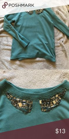 NWOT teal and jewel long sleeve top Never worn beautiful colour teal top size small Xhilaration Tops