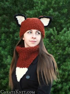 Knitting pattern for Adult Fox Hat and Cowl Set. Love the cowl! I've seen a lot of fox hats but this is the first time I've seen a fox tail cowl. On Etsy (affiliate)