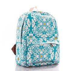 Flowers Printed Blue Canvas Backpack 0627008