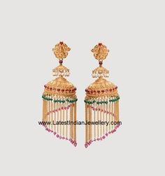 Check out the latest designer lightweight gold jhumka earrings in 22 carat. The jhumka hanging is attached to a gradually incrementing gold chains Jumka Earrings, Gold Jhumka Earrings, Indian Jewelry Earrings, Jewelry Design Earrings, Gold Earrings Designs, Tassel Jewelry, Antique Earrings, Jhumka Designs, Gold Designs