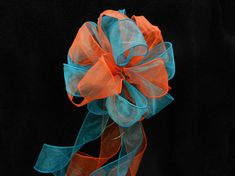 Wedding/ Pew Bows set of 10 Orange and Teal by creativelycarole