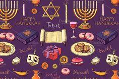 Seamless pattern with Hanukkah. Patterns Seamless pattern with Hanukkah. Seamless pattern with Hanukkah. Patterns Seamless pattern with Hanukkah. Hanukkah Symbols, Hanukkah Traditions, Different Holidays, Rosh Hashanah, Happy Hanukkah, Menorah, Star Of David, Candlesticks, Pattern Design
