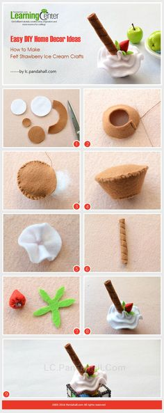 Easy DIY Home Decor Ideas - How to Make Felt Strawberry Ice Cream Crafts from… Felt Cake, Felt Cupcakes, New Crafts, Easy Crafts, Diy And Crafts, Diy Simple, Easy Diy, Sewing For Kids, Diy For Kids