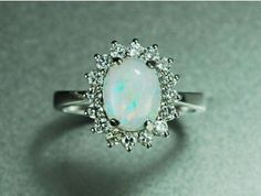 Custom Engagement Ring - 1.2 Carat Opal Ring With Diamonds In 14k ...