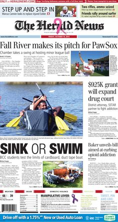 The front page of The Herald News for Friday, Oct. 16, 2015.
