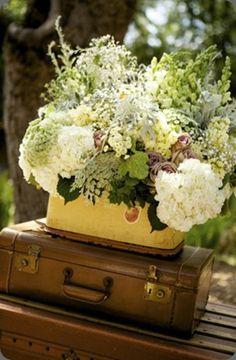 arrangement in vintage luggage
