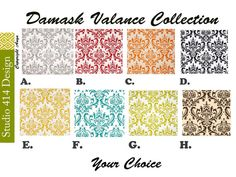 Damask Valance. Damask Window Treatment.Damask Window