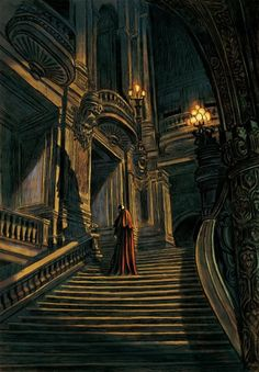 Nice moody piece.  The solitary figure of the phantom stalking the stairs of the opera, illustrated by Christopher Gaultier