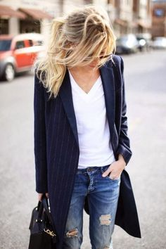 pinstripes slouchy tee and ripped jeans