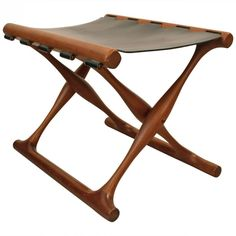 Marvelous Danish Foldable Stool In Teck And Leather, Poul HUNDEVAD   1950s