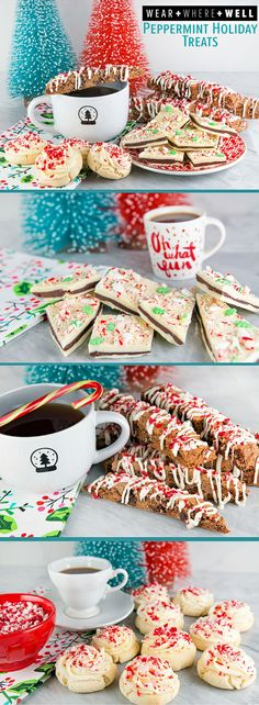 3 Easy Peppermint Treats You'll Want to Try for the Holidays - Peppermint Double Chocolate Biscotti, Double Chocolate Peppermint Bark and Peppermint Candy Cane Sugar Cookies