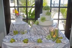 A beautiful cake table display at The Black Palm Restaurant