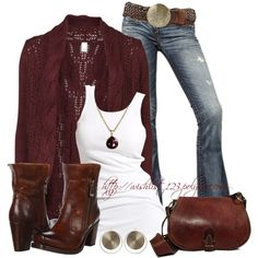 Effortless Urban Cowgirl. Blazer or open sweater, basic tank, jeans with wide belt and buckle, boots.