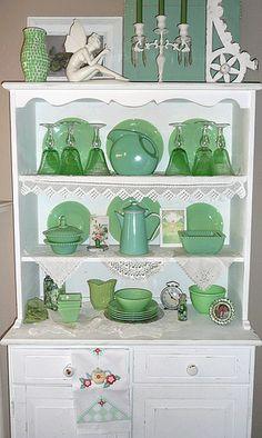 Jadeite with green Depression glass....nice combo