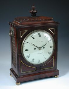 Full Details for Lot 830 - Cheffins A Regency mahogany bracket clock, the gadrooned cornice above circular enamel dial marked 'Webster, Cornhill, London', with twin fusee movement, within a typical rectangular case h:46 cm