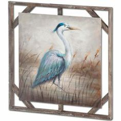 """Add an artful touch to your entryway or living room with this lovely wall decor, showcasing an oil-painted heron motif. Product: Wall decorConstruction Material: Wood and canvasColor: Natural frameFeatures:Heron motifOpenwork frameDimensions: 31"""" H x 31"""" W x 2"""" D"""