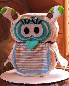 owl themed baby shower for girl | Jungle Theme Gender Neutral Girl or Boy Owl Diaper Cake Baby Shower ...