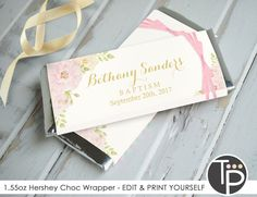 Christening Invitations, Baptism Favors, Favor Tags, Gift Tags, Chocolate Bar Wrappers, Hershey Bar, Rose Gift, Party Printables, As You Like