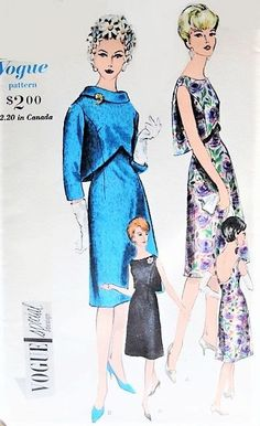 1960s ELEGANT Party Dinner Dress Pattern VOGUE Special Design 4329 Bateau Neckline, Low Oval Back Cocktail Evening Dress Button Back Flared Bolero Jacket Bust 32 Vintage Sewing Pattern
