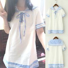 White Lolita Sailor Style Short Sleeve Dress SP167034