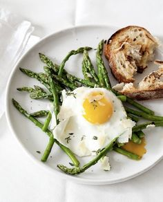 Egg and asparagus is another easy and low  cal dinner option for weightloss (minus the bread. No carbs for me!)
