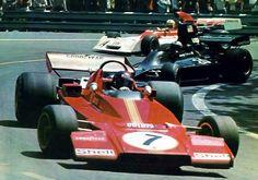 Ickx (Ferrari) Follmer (Shadow) & Regazzoni (BRM) Miramar corner, Montjuic Spain 1973