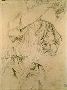 "Jean-August-Dominique Ingres: ""Three Drapery Studies for a Man Pointing Forward"" , Graphite with black chalk on off-white paper, 30.5 x 22.5 cm"