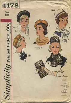 Vintage Hat Sewing Pattern | Simplicity 4178 | Year 196? | One Size | Pillbox Hat, Reversible Beret, Scarf, Rosette, Bag