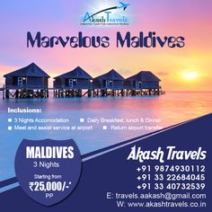 #Marvelous #Maldives to #singapore starting Form Rs.25,000* Website: www.akashtravels.co.in Email: travels.aakash@gmail.com +91 9874930112 / (033) 22684045 / 40732539